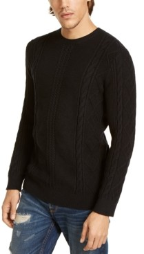 GUESS Men's Diamond Cable-Knit Sweater