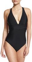 Athena Cabana Solids Alana Crossover One-Piece Swimsuit