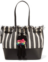 Loeffler Randall Leather-trimmed Frayed Striped Canvas Tote - Black