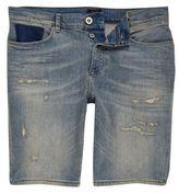 River Island Blue Peach Wash Distressed Denim Shorts