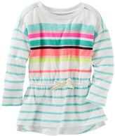 Osh Kosh Girls 4-8 Long Sleeve Striped Cinched-Waist Tunic