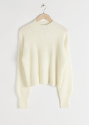 And other stories Ribbed Mock Neck Wool Blend Sweater