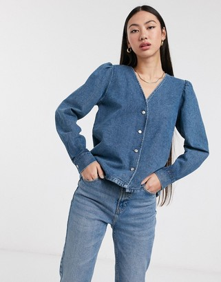 Selected denim shirt with volume sleeve