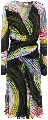 Diane von Furstenberg Sathita Wrap-effect Printed Stretch-mesh Midi Dress