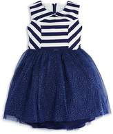 Us Angels Girls' Striped & Sparkle-Mesh Dress, Little Kid - 100% Exclusive