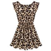 QIYUN.Z Women Sleeveless Leopard Grain Summer Tunic Sundress Pleated A-Line Dress