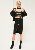 Missguided Black Popper Through Ponte Midi Skirt