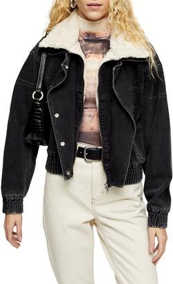 Topshop '80s Ski Faux Fur Collar Jacket