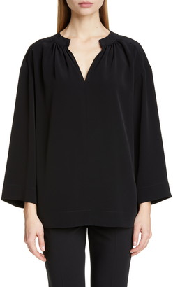 Co Wide Sleeve Gathered Crepe Tunic Top