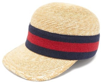 Gucci Web-striped Woven-straw Baseball Cap - Mens - Beige Multi