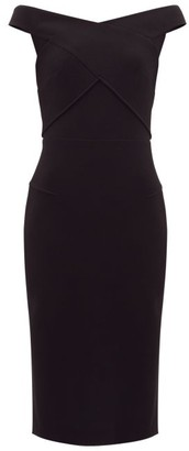 Roland Mouret Amarula Off-the-shoulder Wool-crepe Dress - Black