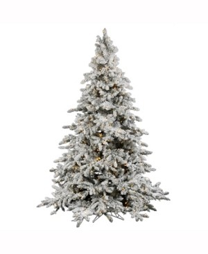 Vickerman 6.5' Flocked Utica Fir Artificial Christmas Tree with 600 Warm White Led Lights