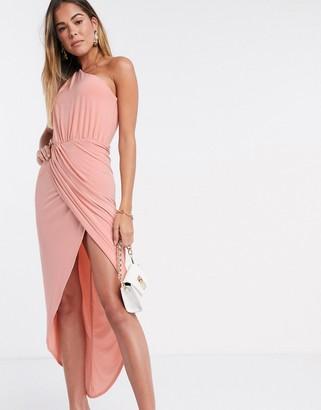 Club L London Club L one shoulder rusched midi wrap dress in blush pink