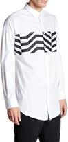 Junk De Luxe Printed-Panel Long Sleeve Regular Fit Shirt