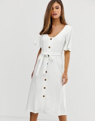 Asos Design DESIGN midi belted button through textured tea dress