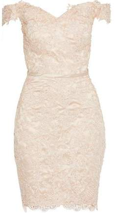Raoul Off-The-Shoulder Embellished Guipure Lace-Appliquéd Tulle Mini Dress