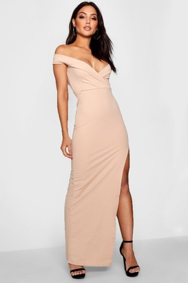 boohoo Wrap Off The Shoulder Maxi Bridesmaid Dress