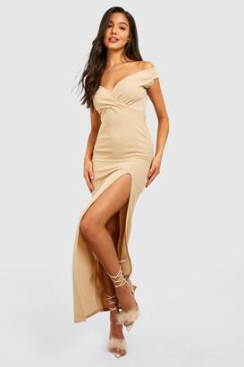 boohoo Wrap Top Off Shoulder Maxi Dress