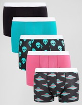 Asos Trunks With Space Print 5 Pack