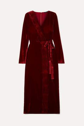 Rachel Zoe Aly Gathered Wrap-effect Velvet Dress - Burgundy