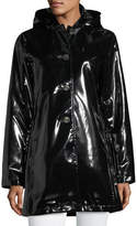 Jane Post Button-Front Shiny Waterproof Rain Slicker Jacket