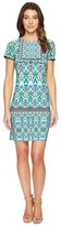 London Times T2512M Short Sleeve Multi-Print Sheath Dress