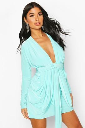 boohoo Petite Plunge Drape Bodycon Dress