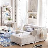 Pottery Barn Teen Cushy Roll Arm Lounge Armless Chair, Light Gray Faux-Suede