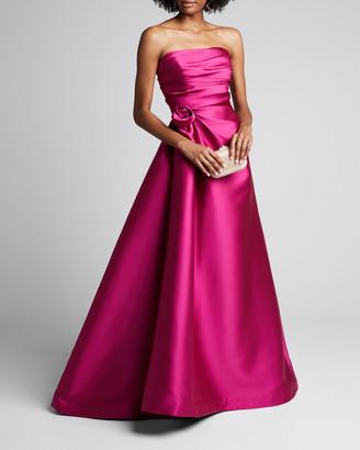 Roland Nivelais Strapless Duchess Satin Gown