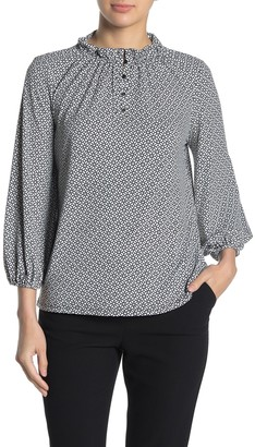 Adrianna Papell Moss 3/4 Length Sleeve Print Crepe Blouse