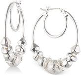 Nine West Silver-Tone Multi-Bead Hoop Earrings