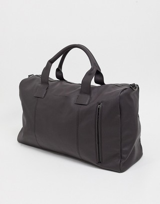 French Connection faux leather classic holdall bag in brown