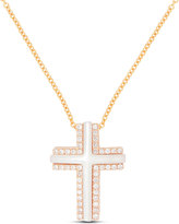 Frederic Sage Small 18k Rose Gold Cross Necklace with Mother-of-Pearl & Diamonds