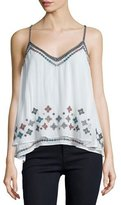 Love Sam Savannah Embellished A-Line Top, White Pattern