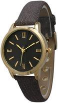 OLIVIA PRATT Olivia Pratt Womens Gold-Tone Grey Denim Faux Leather Strap Watch 14086