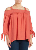Jessica Simpson Plus Smocked Off-The-Shoulder Top