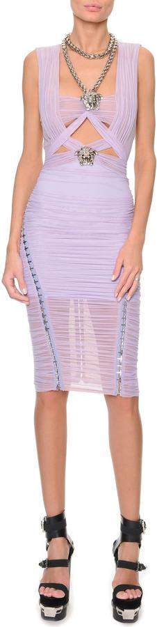 Versace Medusa-Necklace Ruched Banded Dress, Lilac