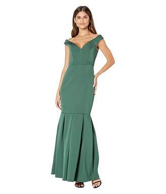 BCBGMAXAZRIA Off-the-Shoulder Trumpet Gown (Dark Amazon) Women's Dress