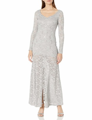 Marina Women's Dress with Long Sleeve in Lace Glitter Sweetheart Neckline