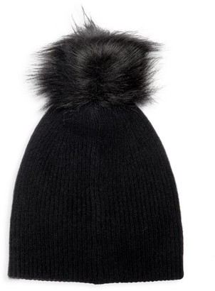 Saks Fifth Avenue Knit Cashmere & Faux-Fur Pom-Pom Hat