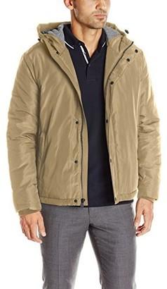 Cole Haan Men's Oxford Rain Zip Front Jacket with Attached Hood
