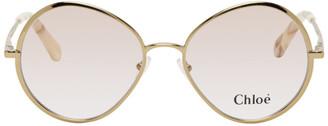 Chloé Gold Metal Oval Sunglasses