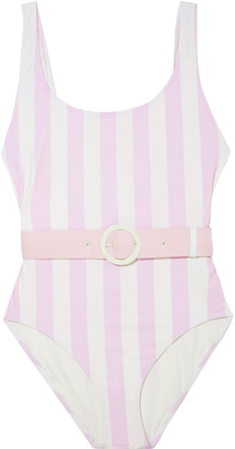 Solid & Striped The Anne-marie Open-back Belted Striped Swimsuit