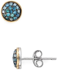 Bloomingdale's Marc & Marcella Diamond & Blue Diamond Round Earrings in Sterling Silver & 14K Gold-Plated Sterling Silver, 0.28 ct. t.w. - 100% Exclusive