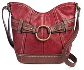 Bolo Women's Faux Leather Crossbody Handbag with Back/Interior Compartments and Zipper Closure - Red/Walnut