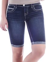 Amethyst Jeans Dark Blue Denim Embellished-Pocket Maci Shorts - Plus