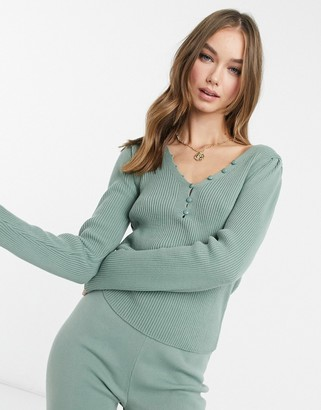 ASOS DESIGN co-ord long sleeve rib sweater with button detail in sage