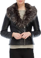 Love Token Faux Fur Collar Moto Jacket