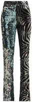 Halpern Sequined Slim-leg Flared Trousers - Womens - Light Blue