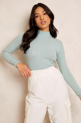 boohoo Petite High Neck Fine Knit Rib Sweater